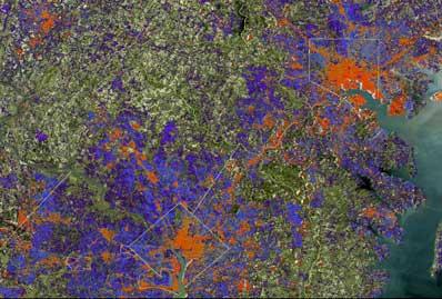 Zdjęcia zabudowań zrobione przez Landsat 7