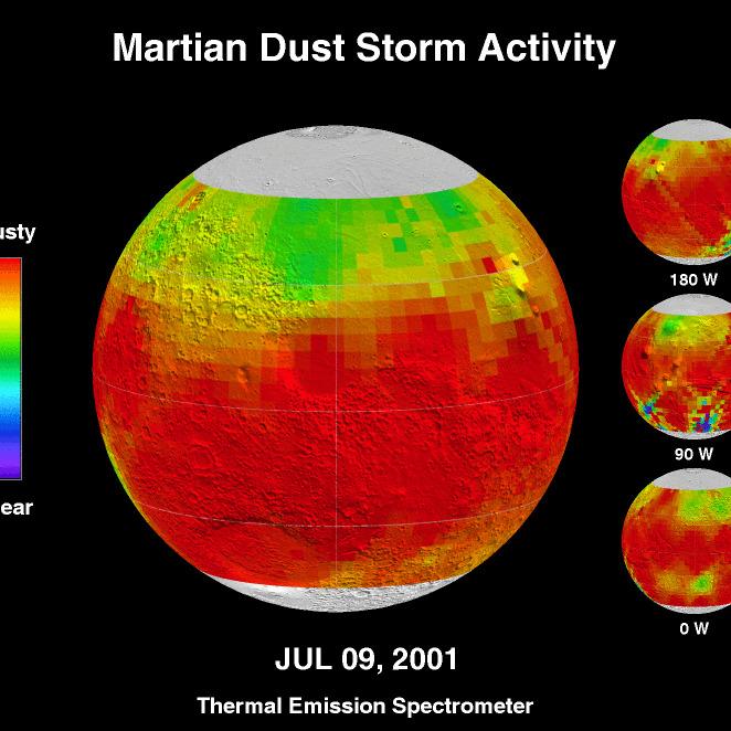 Burza pyłowa na Marsie - 9 lipca 2001
