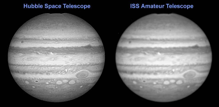 Jowisz widziany przez Hubble'a i amatorski teleskop na Stacji Kosmicznej