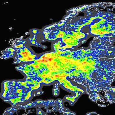 Zanieczyszczenie światłem w Europie