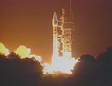 Start rakiety Atlas z satelitą szpiegowskim