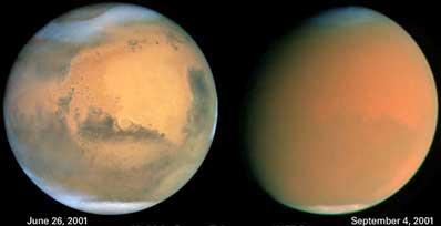 Burza pyłowa na Czerwonej Planecie
