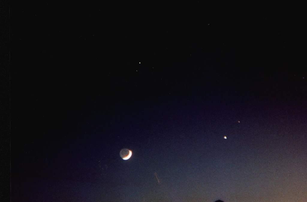 Saturn, Jowisz, Mars i Księżyc