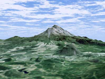 Wulkan Mount Shasta wygenerowany komputerowo