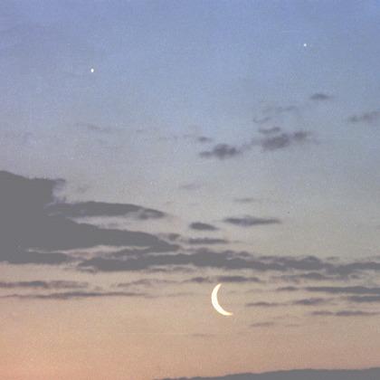 Księżyc, Jowisz i Saturn w czerwcu 2000 roku