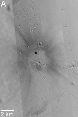 Krater naMarsie sfotografowany przezsondy Viking iMars Global Surveyor