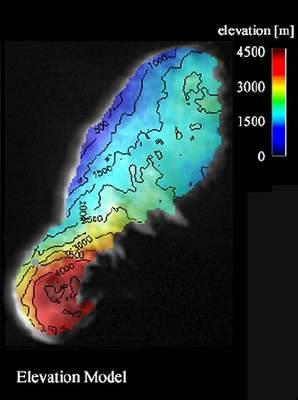 Mapa terenu komety Borrelly