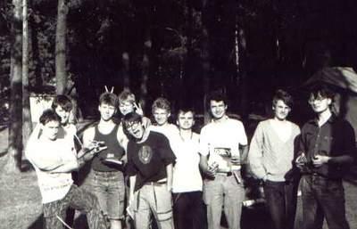 Uczestnicy obozu astronomicznego w1990 roku