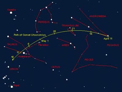 Kometa Utsunomiya (C/2002 F1) natle gwiazd