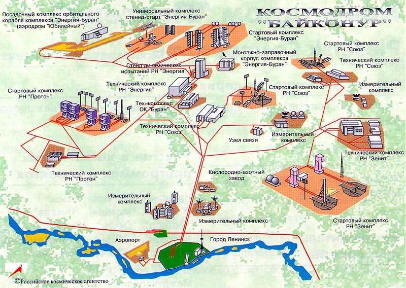 Plan kosmodromu Bajkonur w Kazachstanie