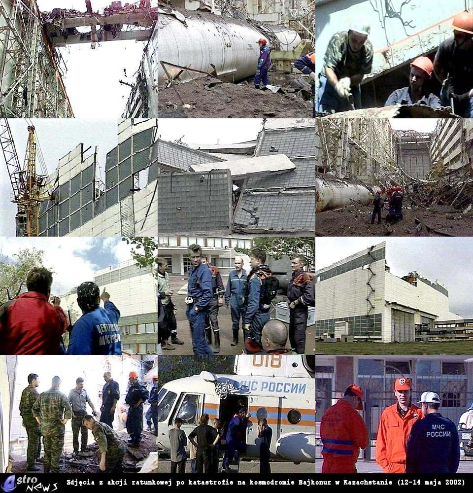 Zdjęcia z akcji ratunkowej na kosmodromie Bajkonur w Kazachstanie