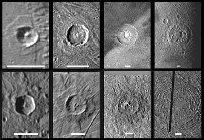 Kratery na Ganimedesie, Kalisto i Europie