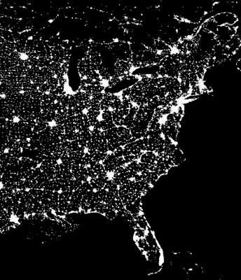 Zanieczyszczenie światłem wpółnocno-wschodniej Ameryce