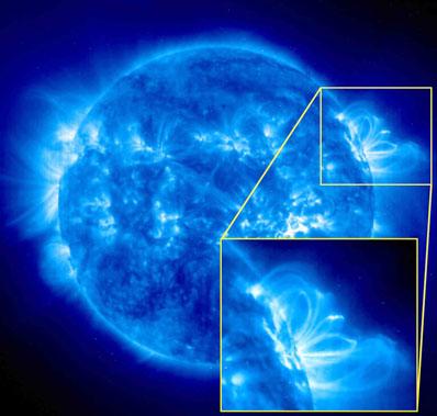 Pętle słoneczne na zdjęciu z SOHO