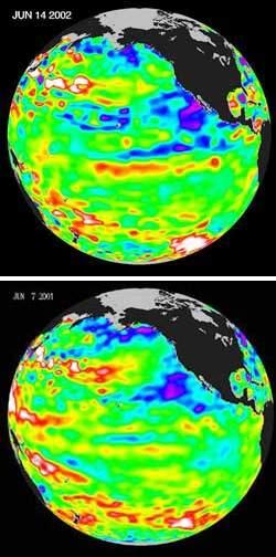 Pacyfik w czerwcu 2001 roku i czerwcu 2002 roku.