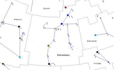 Mapka gwiazdozbioru Perseusz