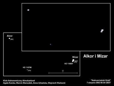 Mizar i Alkor, 7 sierpnia 2002, godzina 0:54