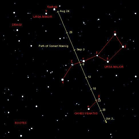 Droga komety C/2002 O4 (Hoenig) na tle gwiazd