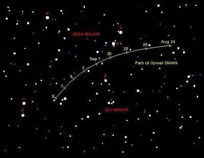 Droga komety C/2002 O6 (SWAN) natle gwiazd