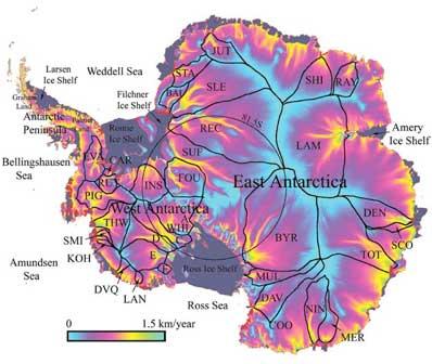Mapa powłoki lodowej Antarktydy