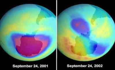 Dziura ozonowa w 2001 i 2002 roku