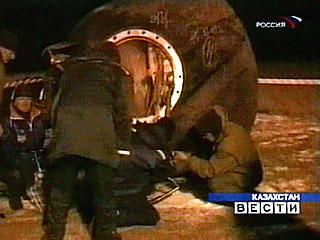 Kapsuła Sojuza TM-34 po wylądowaniu
