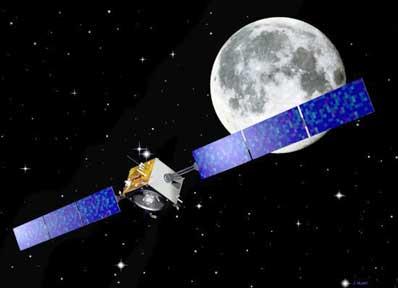 Sonda SMART-1 na tle Księżyca