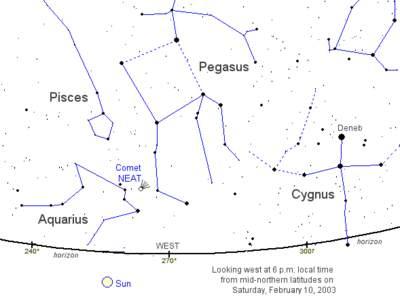 Położenie komety NEAT (C/2002 V1) naniebie