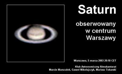Saturn widziany zWarszawy