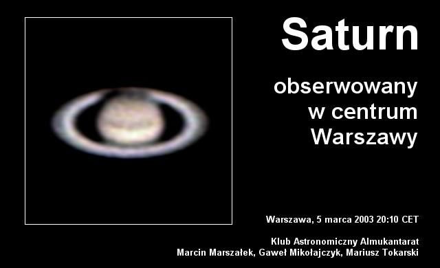 Saturn widziany z Warszawy