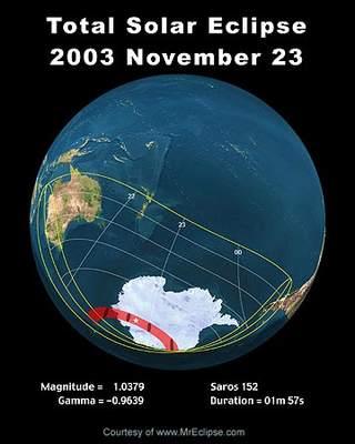 Obszar objęty zaćmieniem Słońca 23 listopada 2003