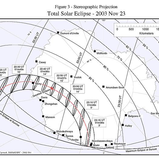 Mapka całkowitego zaćmienia Słońca 23 listopada 2003