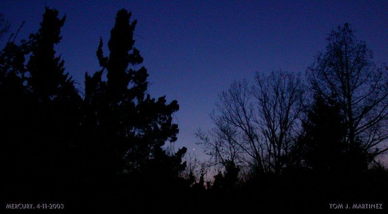 Merkury nad zachodnim horyzontem, 11 kwietnia 2003