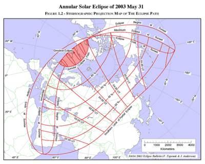 Fazy zaćmienia Słońca 31 maja 2003 roku