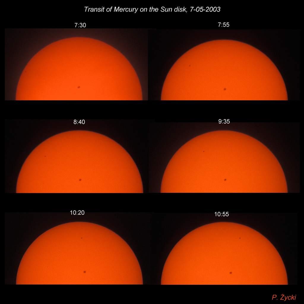 Seria zdjęć Merkurego natle Słońca