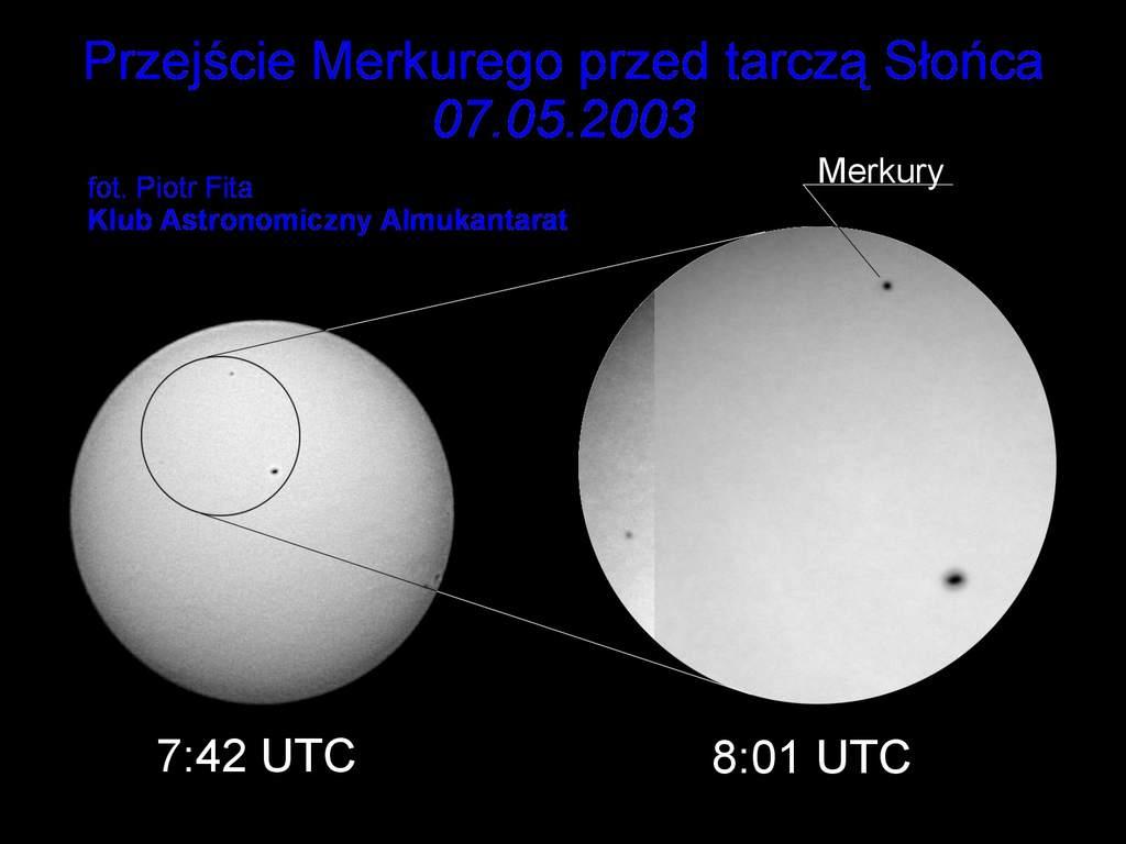 Merkury przez teleskop i przez lunetę