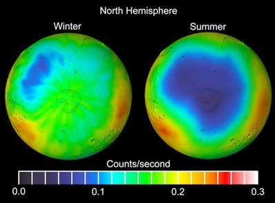 Lód wodny na Marsie zimą i wiosną