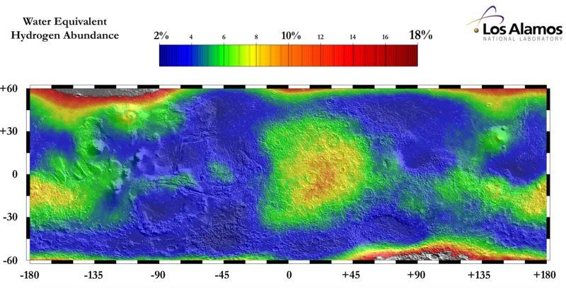 Mapa wody na Marsie