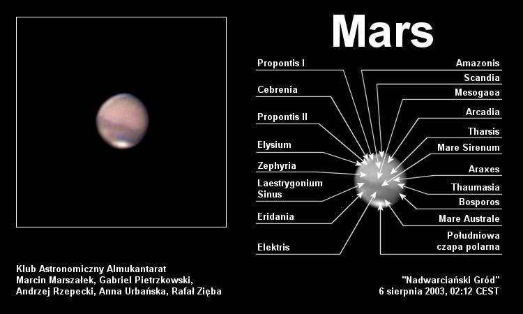 Mars widziany z Załęcza - ze szczegółami