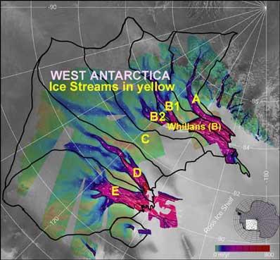 Lodowe potoki na Zachodniej Antarktydzie
