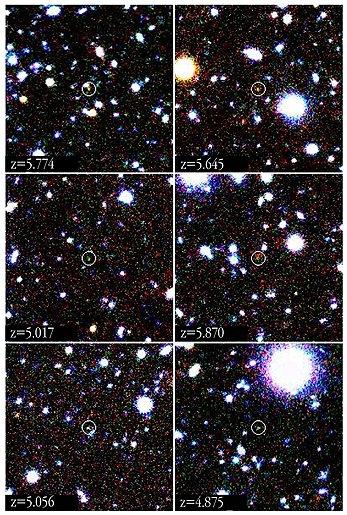 Sześć odległych galaktyk na zdjęciach z VLT