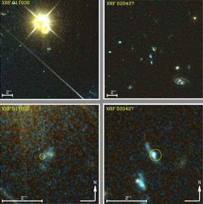 Błyski promieniowania X o nazwie XRF 011030 i XRF 020427