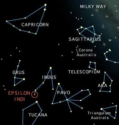 Mapa gwiazdozbiorów wokół konstelacji Indianina