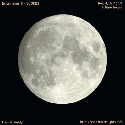 Animacja zaćmienia Księżyca z9 listopada 2003