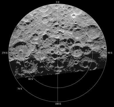 Kratery na południowym biegunie Księżyca