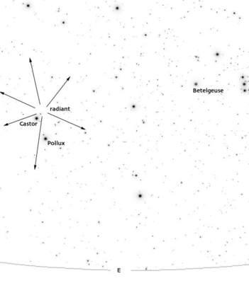 Położenie radiantu Geminidów