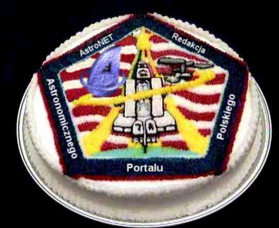 Ciasto z logo misji AstroNETu