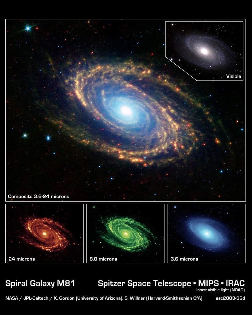 M81 - zdjęcie zTeleskopu Spitzera