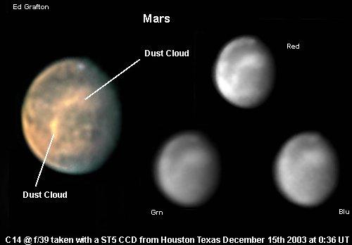 Burza pyłowa na Marsie, 15 grudnia 2003