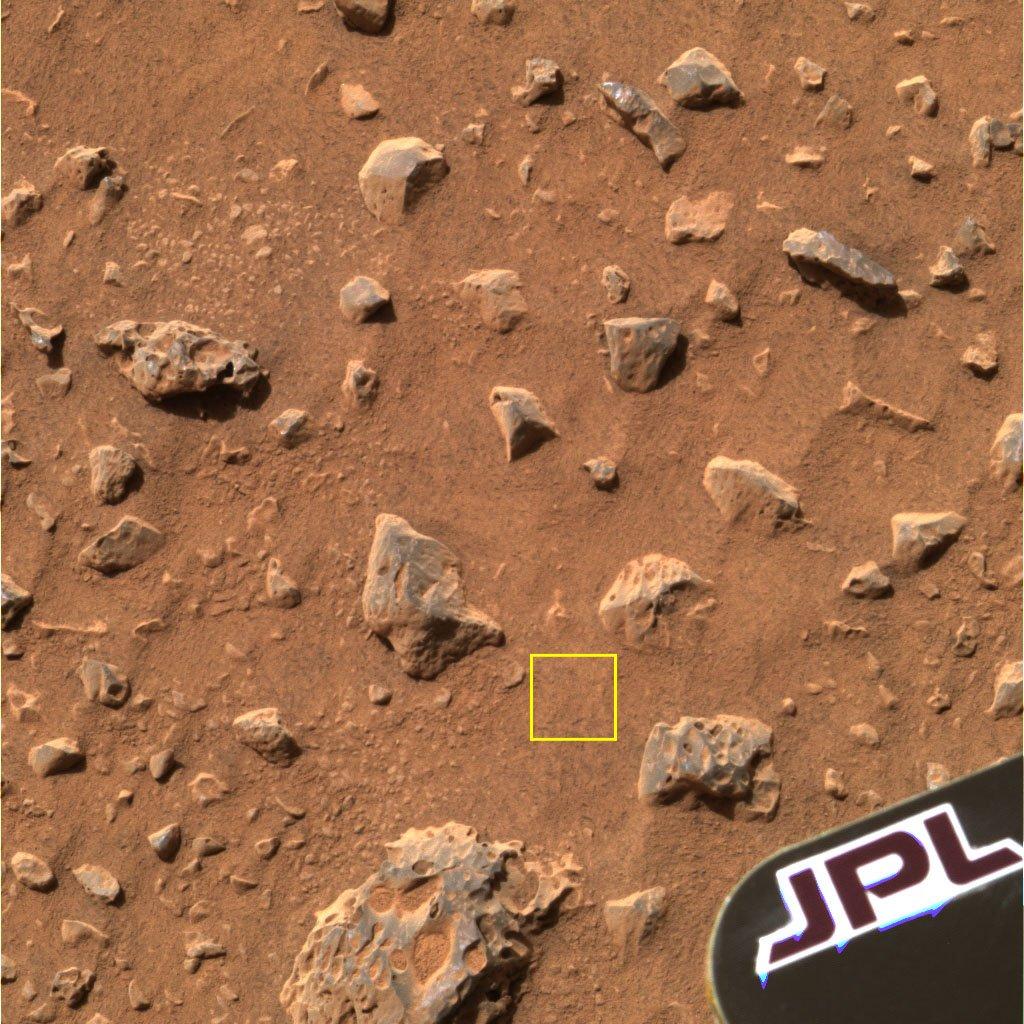 """Zdjęcie fragmentu gleby zbadanej przez łazik """"Spirit"""""""
